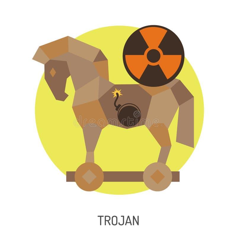 Icono del caballo de Troya ilustración del vector