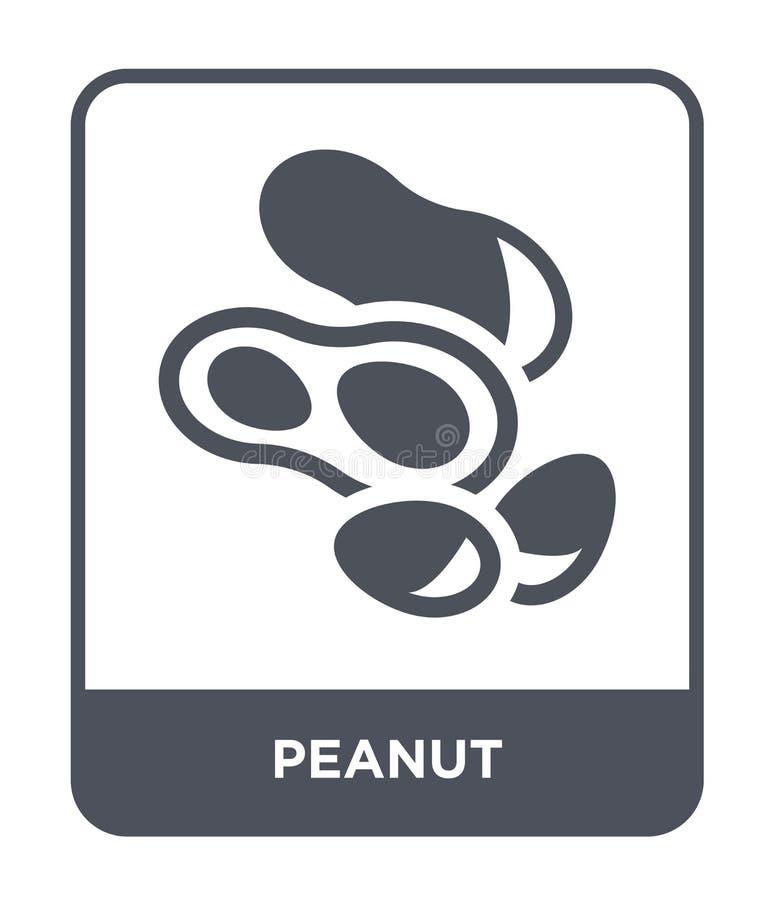 icono del cacahuete en estilo de moda del diseño icono del cacahuete aislado en el fondo blanco símbolo plano simple y moderno de stock de ilustración