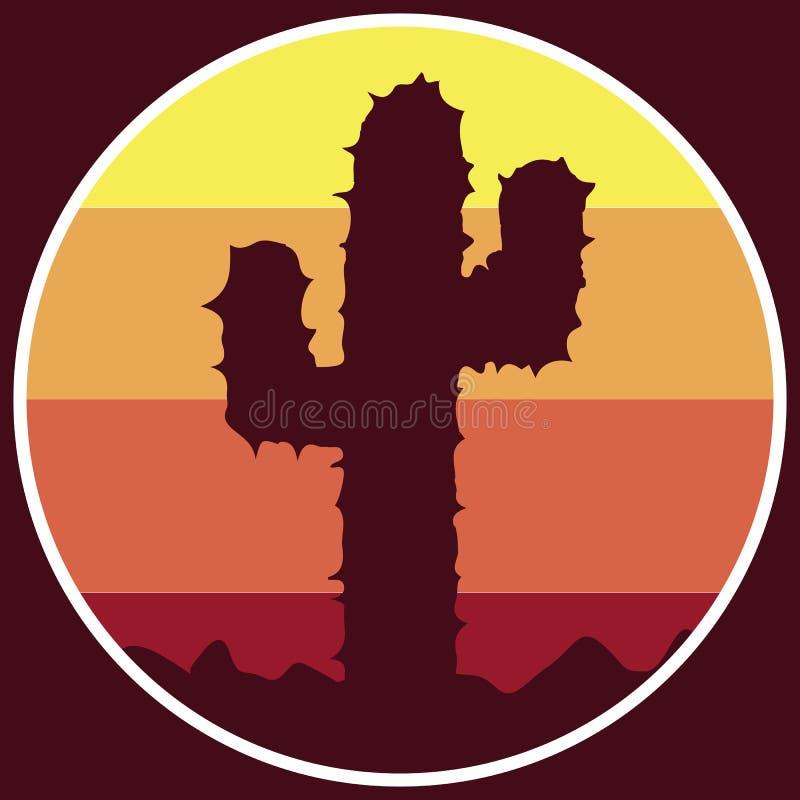 Icono del cactus del logotipo en el desierto stock de ilustración