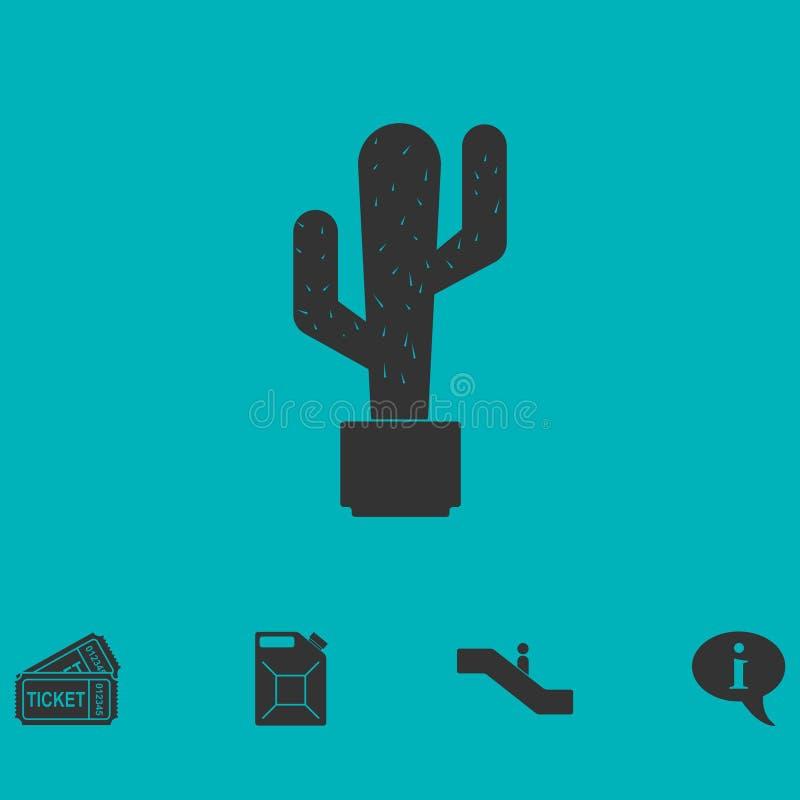 Icono del cactus plano stock de ilustración