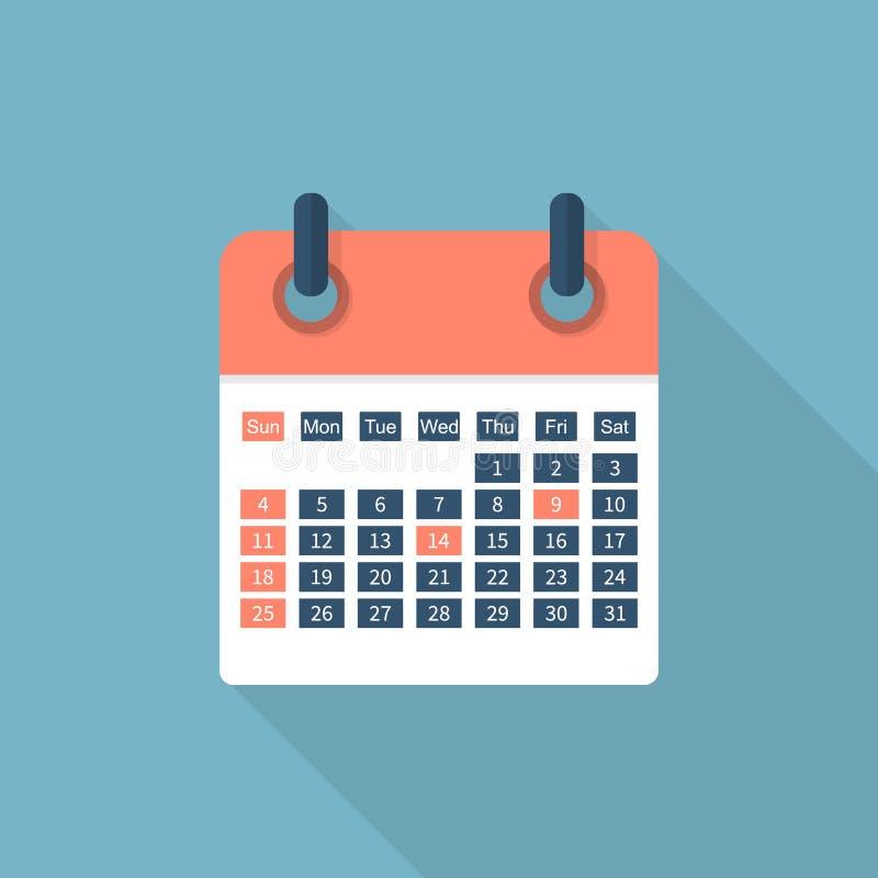 Icono del calendario aislado stock de ilustración