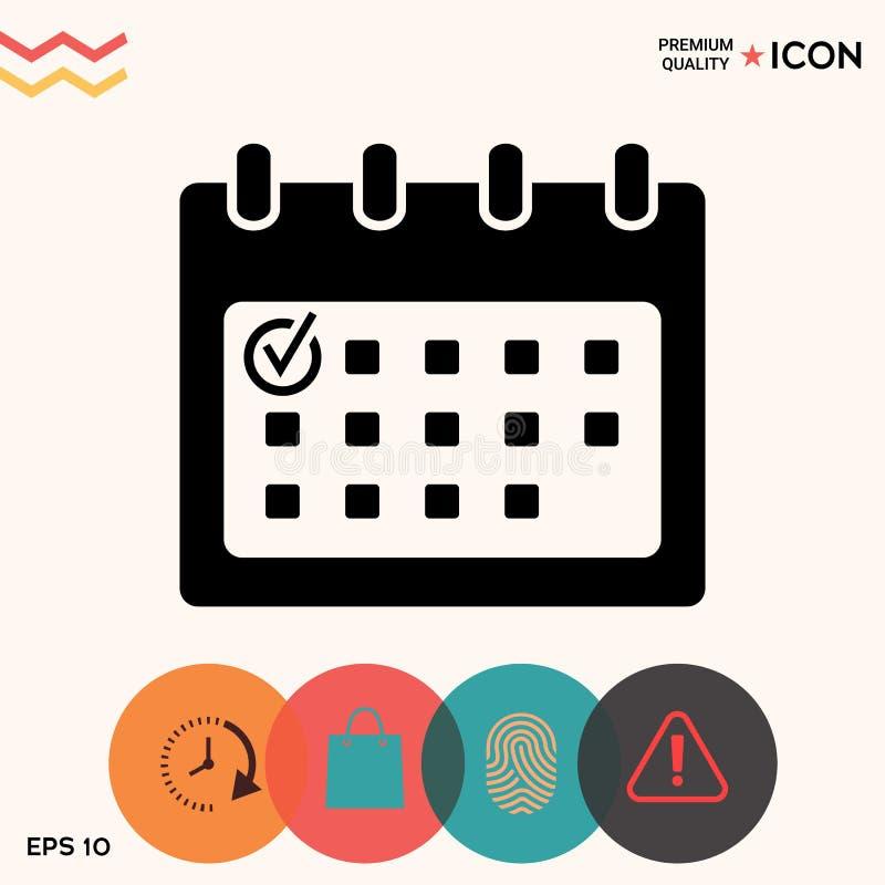 Icono del calendario con la marca de verificación stock de ilustración