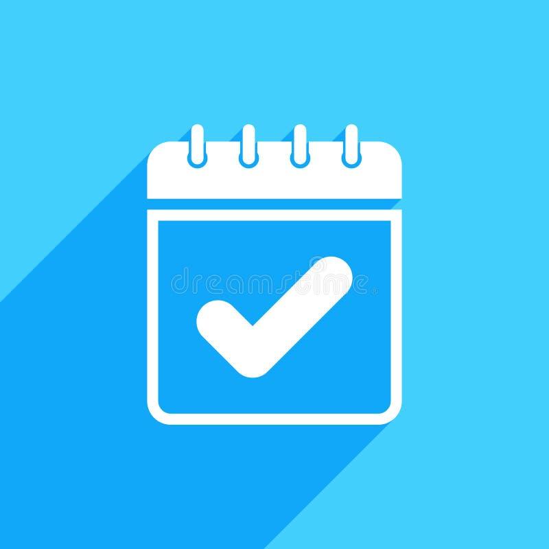 Icono del calendario con la muestra del control El icono del calendario y aprobado, confirma, hecho, señal, concepto terminado ilustración del vector