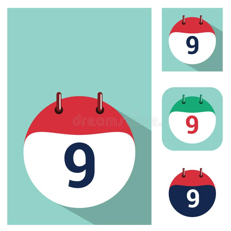 9 - Icono del calendario con opciones del color Icono isom?trico del calendario Estilo plano stock de ilustración