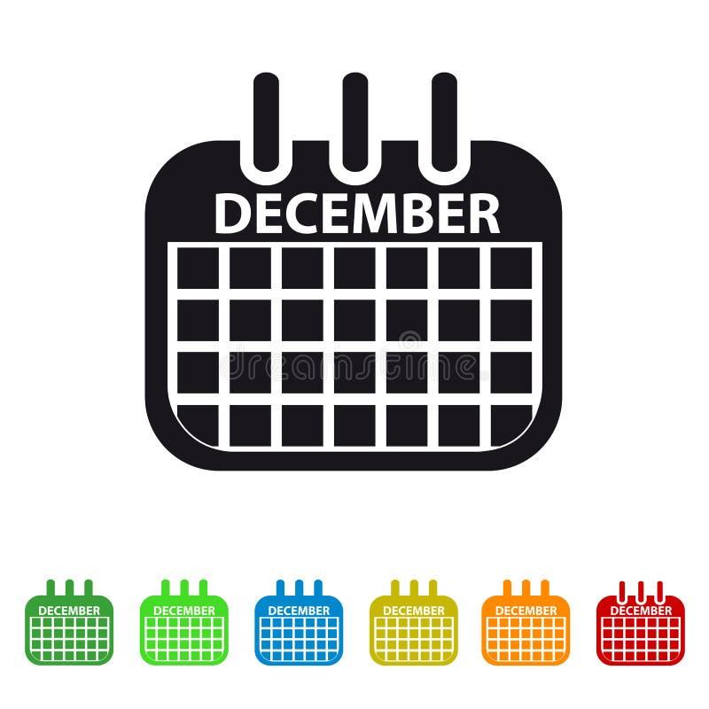 Icono del calendario de diciembre - símbolo colorido del vector stock de ilustración