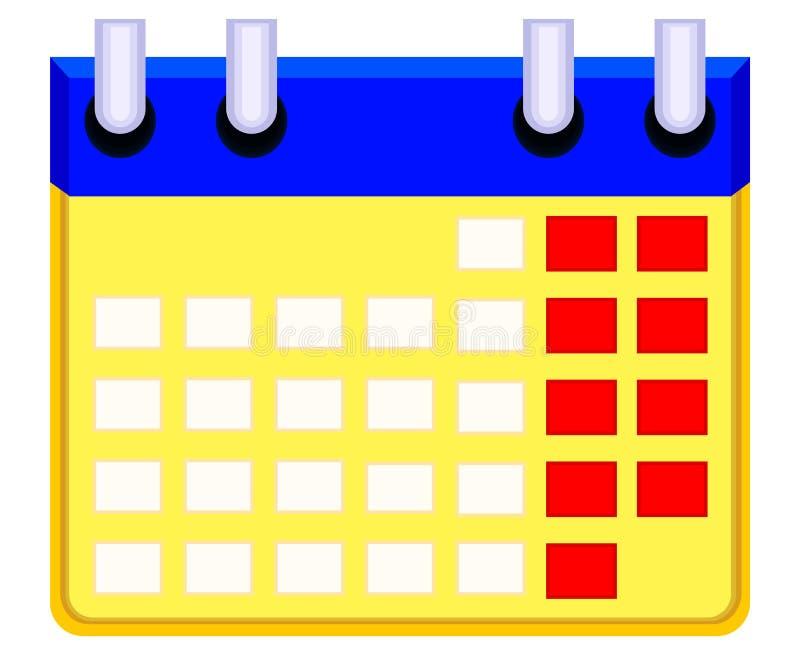 Icono del calendario de la historieta de Colorfull ilustración del vector