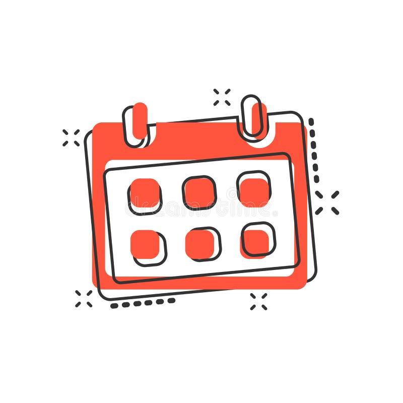 Icono del calendario de la historieta del vector en estilo cómico Sig del orden del día del recordatorio stock de ilustración