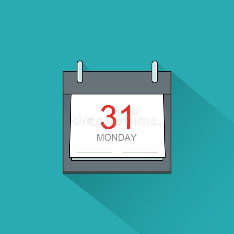 Icono del calendario del vector Página del eje de balancín con los días de la semana ilustración del vector