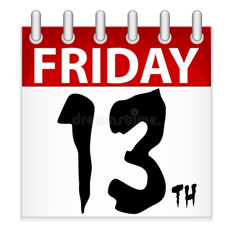 Icono del calendario del viernes 13 ilustración del vector