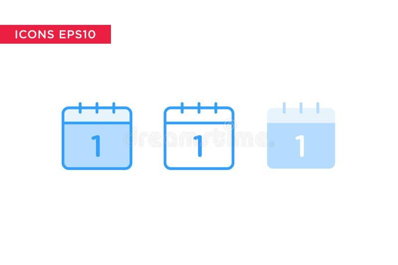 Icono del calendario en la línea, el esquema, el esquema llenado y el estilo plano del diseño aislados en el fondo blanco Vector  ilustración del vector
