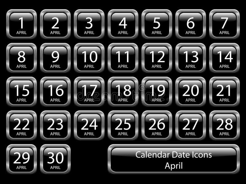 Icono del calendario fijado - abril ilustración del vector