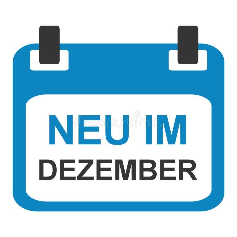Icono del calendario: Nuevo en diciembre alemán stock de ilustración