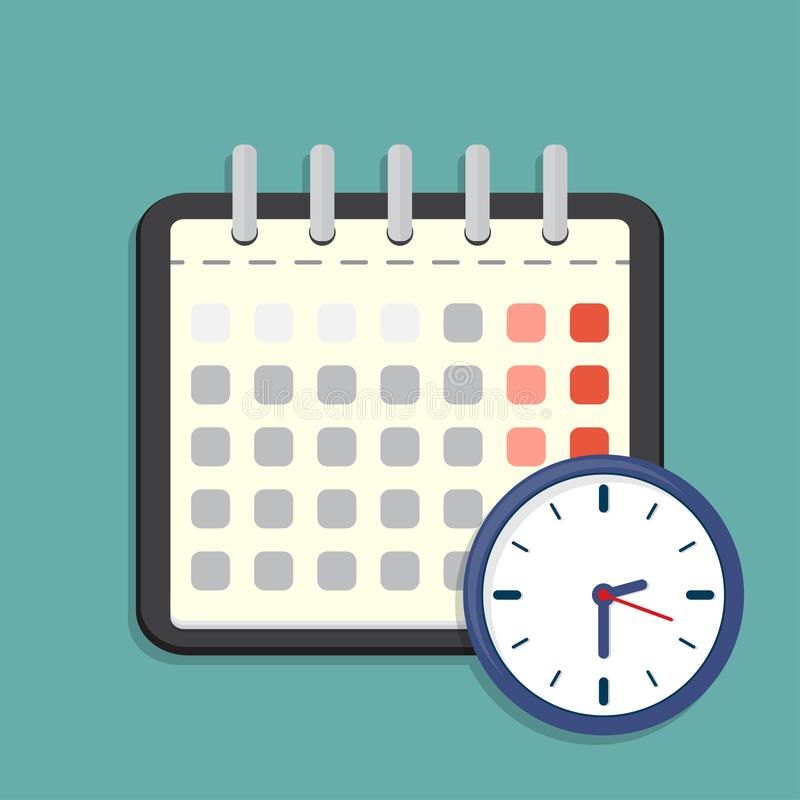 Icono del calendario y del reloj Horario, cita Ilustración del vector ilustración del vector