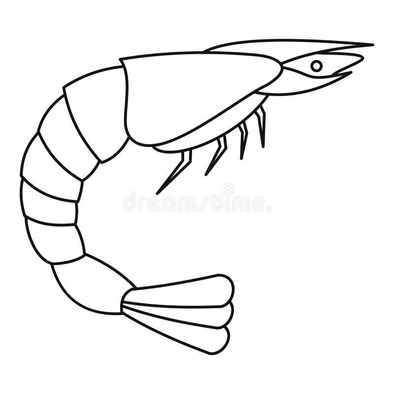 Icono del camarón, estilo del esquema stock de ilustración