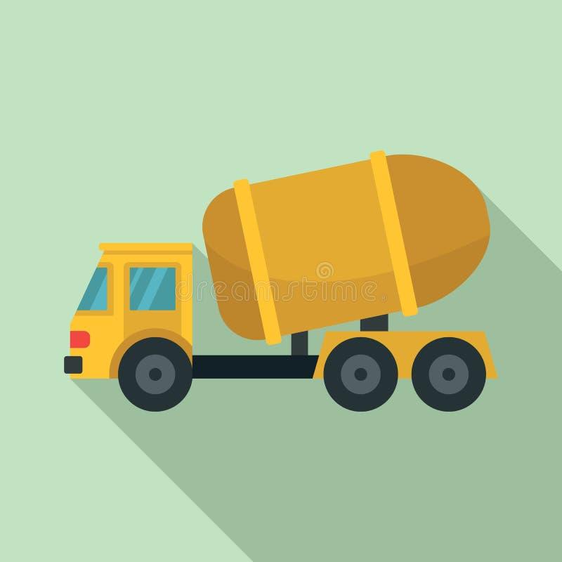 Icono del camión del cemento, estilo plano libre illustration