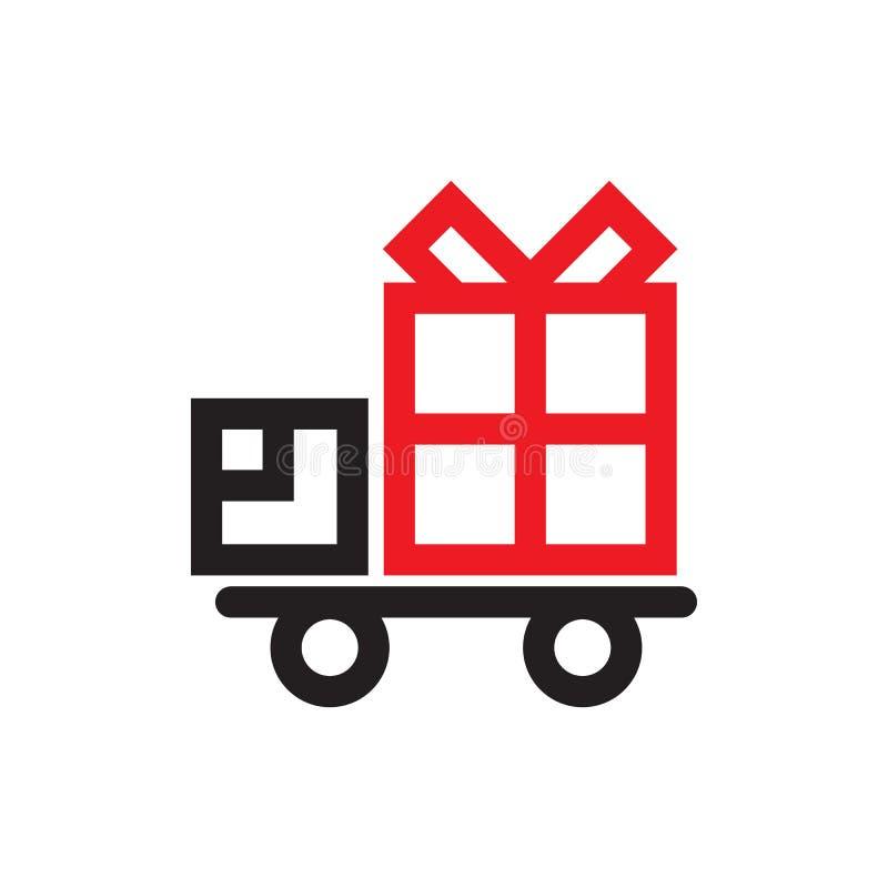 Icono del camión de reparto con una caja de regalo stock de ilustración