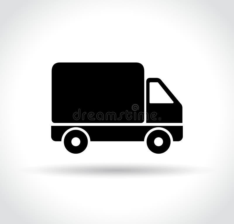 Icono del camión en el fondo blanco stock de ilustración