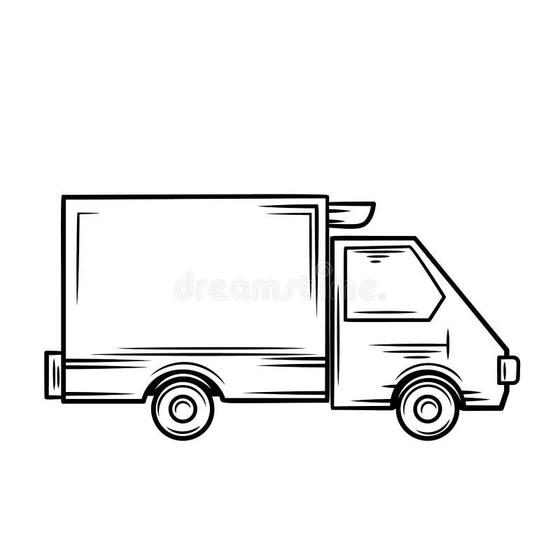 Icono del camión, esquema stock de ilustración