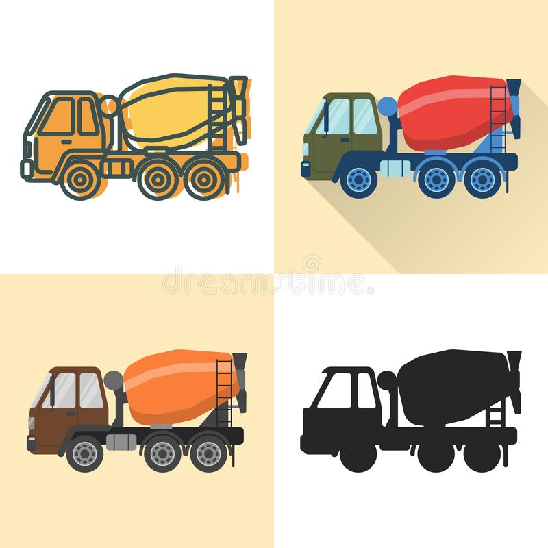 Icono del camión del mezclador concreto fijado en el plano y la línea estilos stock de ilustración