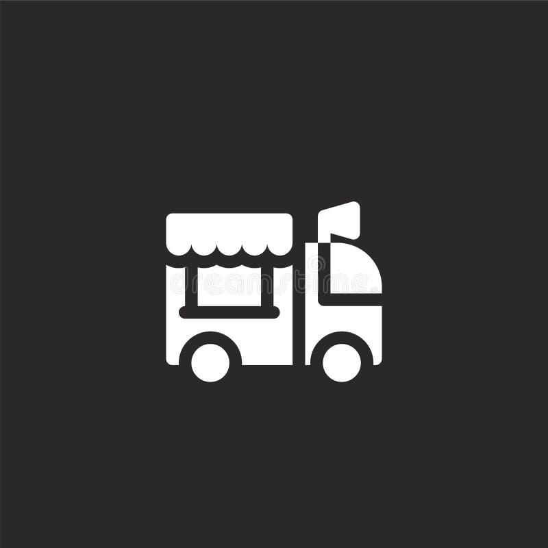 Icono del cami?n de la comida Icono llenado del camión de la comida para el diseño y el móvil, desarrollo de la página web del ap ilustración del vector