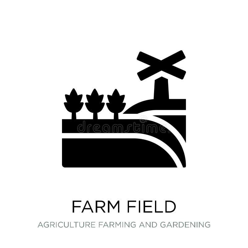 icono del campo de granja en estilo de moda del diseño icono del campo de granja aislado en el fondo blanco icono del vector del  stock de ilustración
