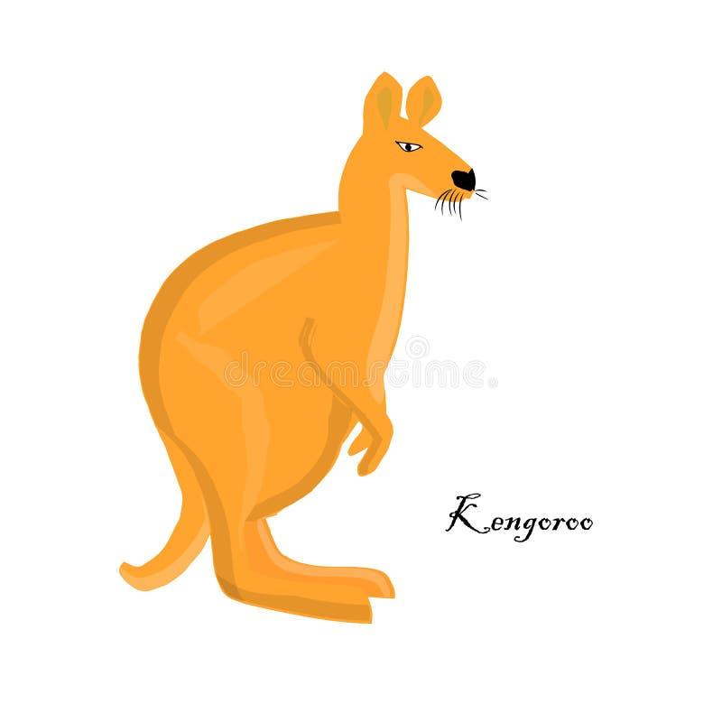 Icono del canguro Elemento aislado objeto animal australiano del diseño de la naranja de las historietas stock de ilustración
