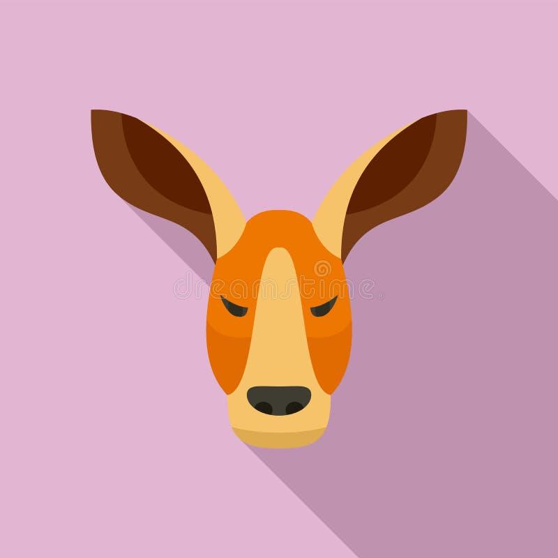 Icono del canguro, estilo plano stock de ilustración