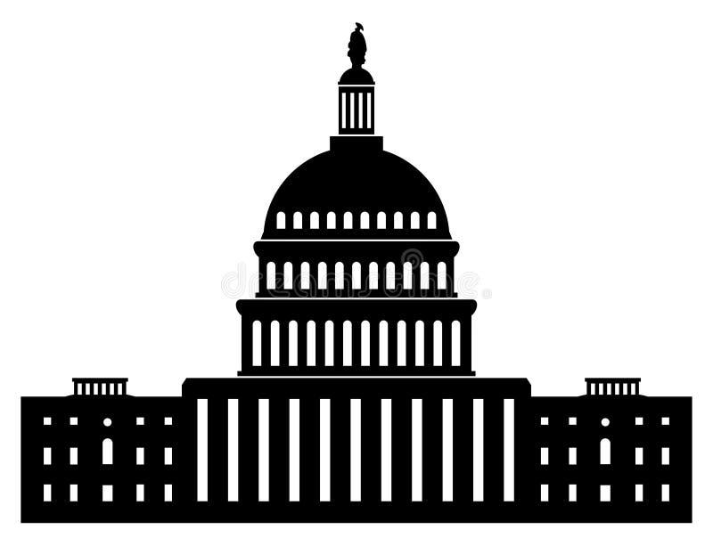 Icono del capitol que construye al congreso del americano de la C.C. de Washington stock de ilustración
