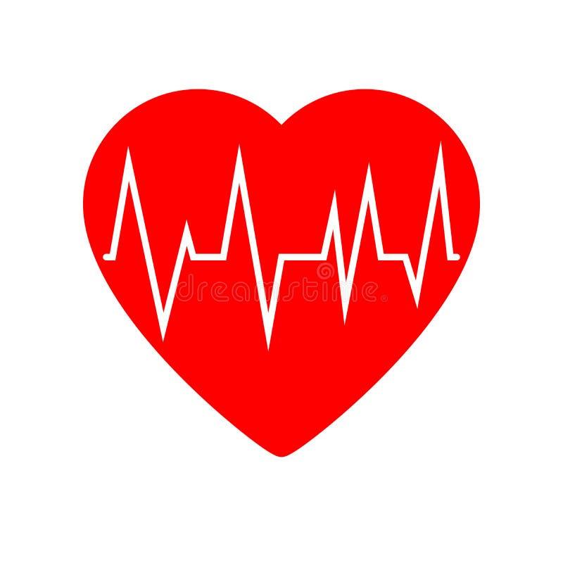 Icono del cardiograma del corazón stock de ilustración