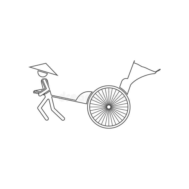 Icono del carrito Elemento de China para el concepto y el icono m?viles de los apps de la web Esquema, l?nea fina icono para el d stock de ilustración