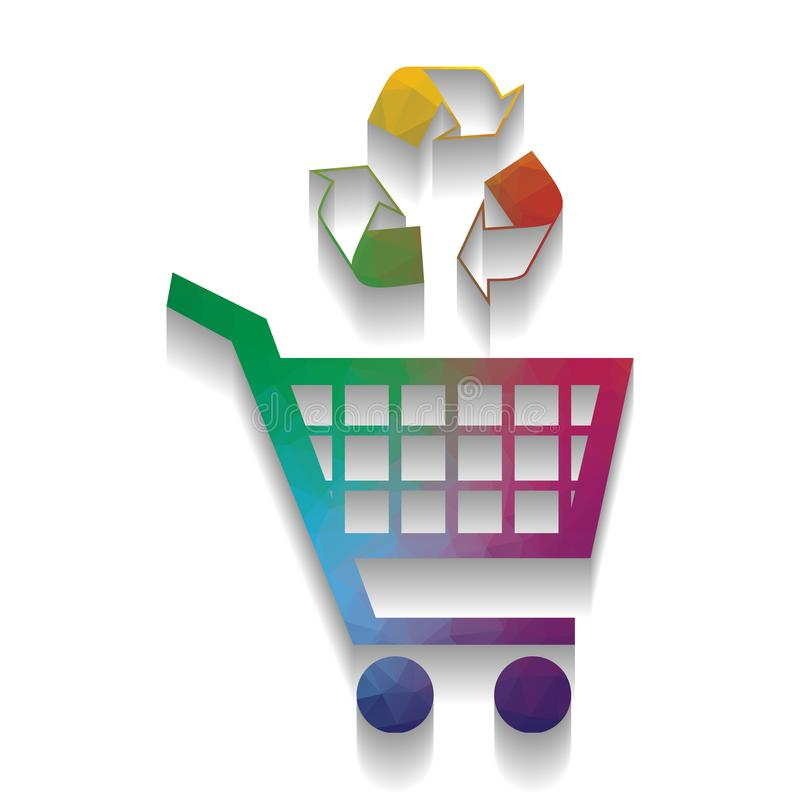 Icono del carro de la compra con una muestra del reciclaje Vector Wi coloridos del icono stock de ilustración