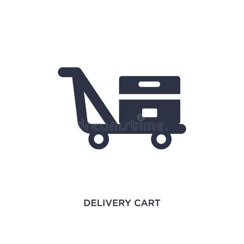 icono del carro de la entrega en el fondo blanco Ejemplo simple del elemento del concepto del embalaje y de la entrega stock de ilustración
