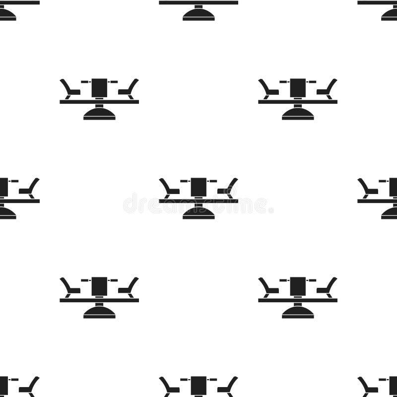Icono del carrusel en estilo negro aislado en el fondo blanco Ejemplo del vector de la acción del modelo del jardín del juego libre illustration