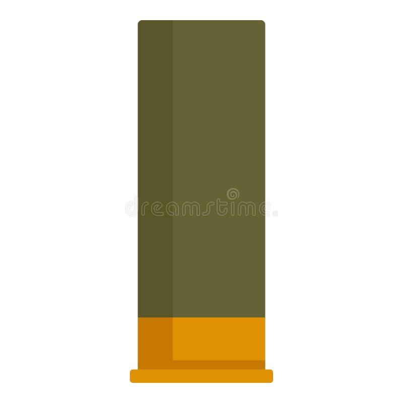 Icono del cartucho del verde de la escopeta, estilo plano stock de ilustración