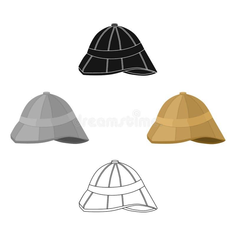 Icono del casco de médula en la historieta, estilo negro aislada en el fondo blanco Ejemplo del vector de la acci?n del s?mbolo d libre illustration