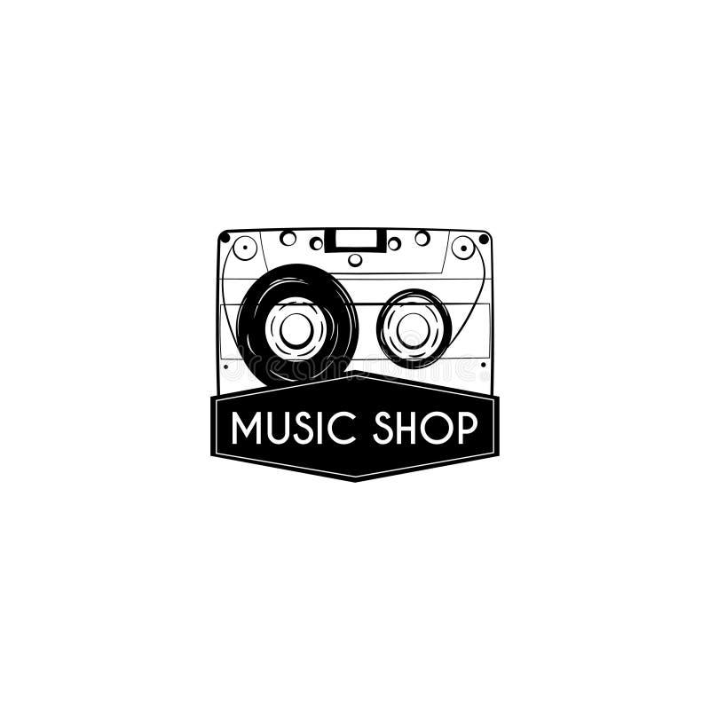 Icono del casete audio cinta Etiqueta del emblema del logotipo de la tienda de la música Insignia de la música de Reteo Vector libre illustration