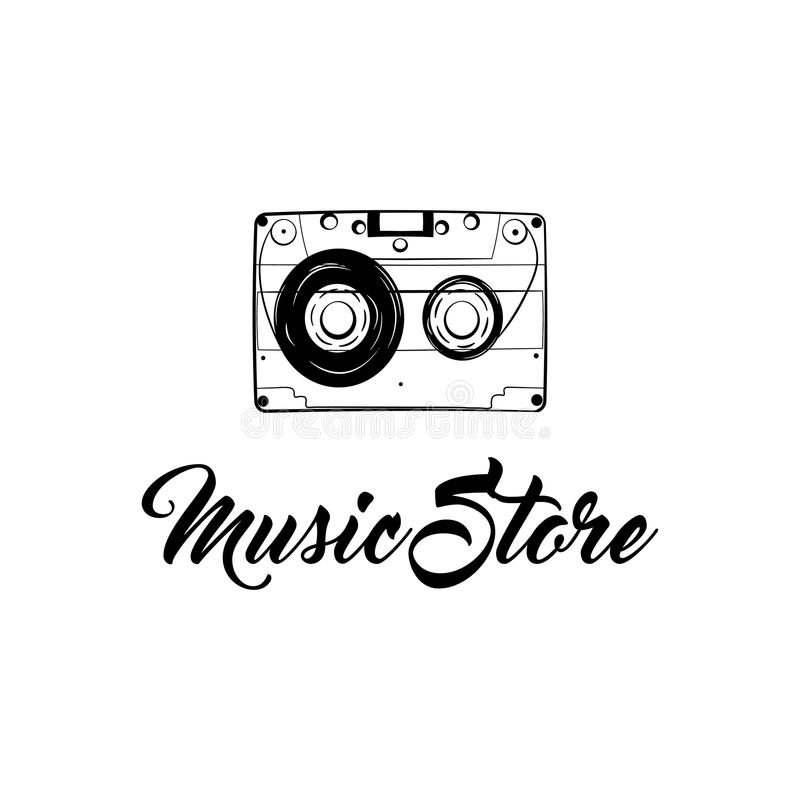 Icono del casete audio Etiqueta del lofo de la tienda de la música Insignia retra de la música Cinta del vintage Vector stock de ilustración