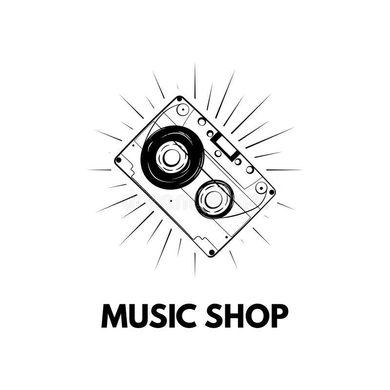 Icono del casete, cinta Etiqueta del logotipo de la tienda de la música Ilustración del vector ilustración del vector