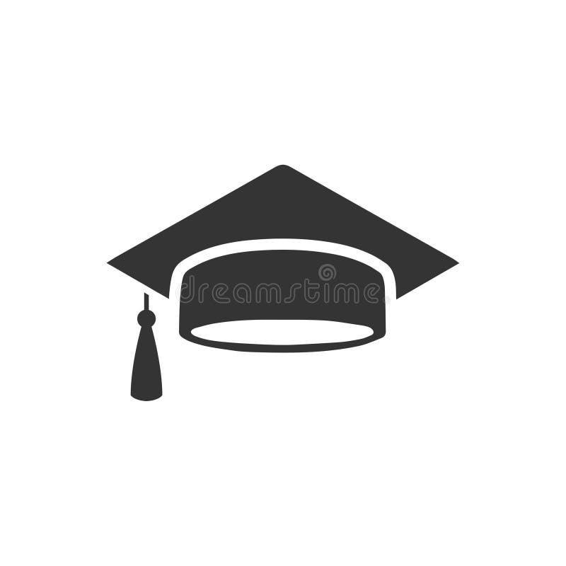 Icono del casquillo de la graduación stock de ilustración