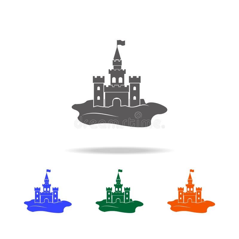 Icono del castillo de la arena Elemento de los iconos coloreados multi de los días de fiesta de la playa para los apps móviles de stock de ilustración