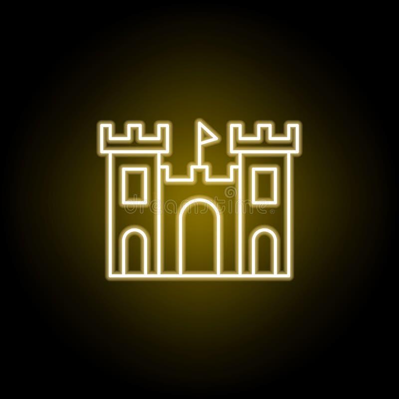 icono del castillo de la arena en el estilo de ne?n Elemento del ejemplo del viaje Las muestras y los s?mbolos se pueden utilizar stock de ilustración