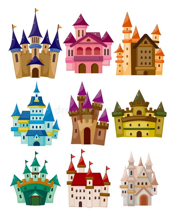 Icono del castillo del cuento de hadas de la historieta stock de ilustración