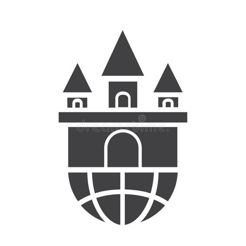 Icono del castillo del negro plano stock de ilustración