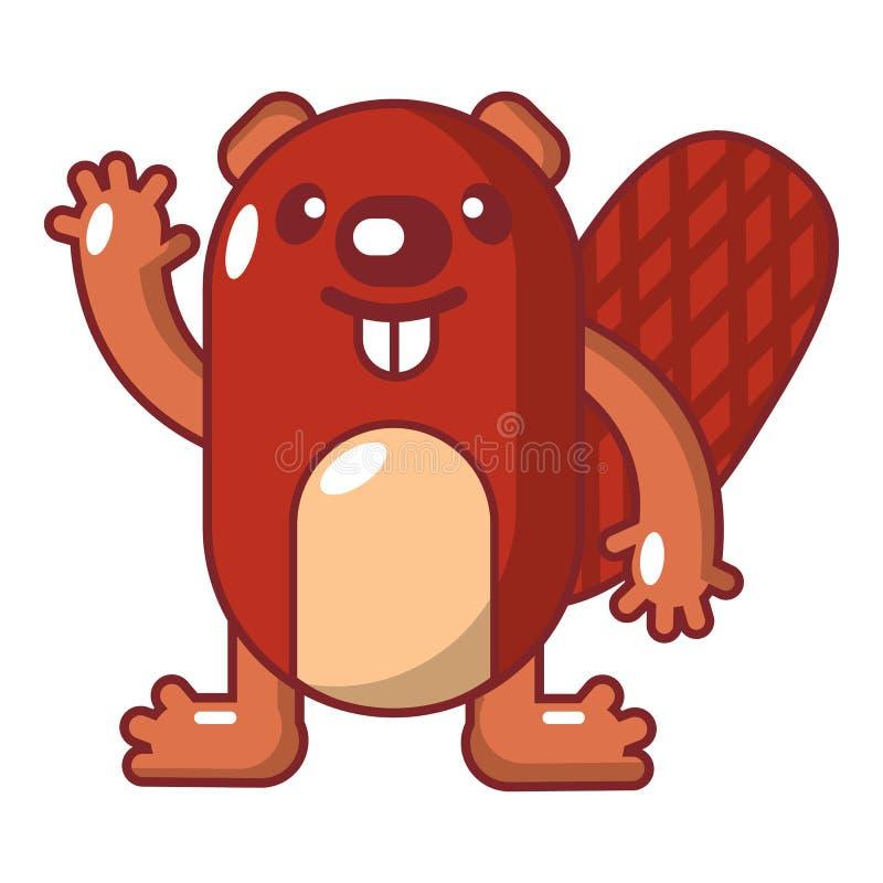Icono del castor, estilo de la historieta ilustración del vector