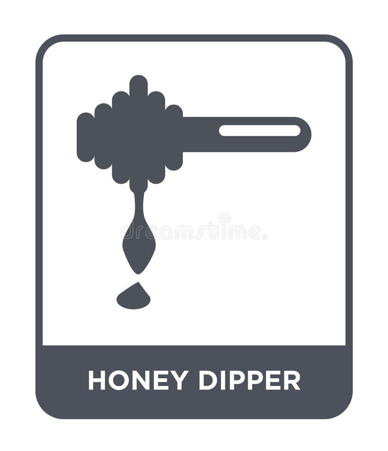 icono del cazo de la miel en estilo de moda del diseño icono del cazo de la miel aislado en el fondo blanco icono del vector del  ilustración del vector