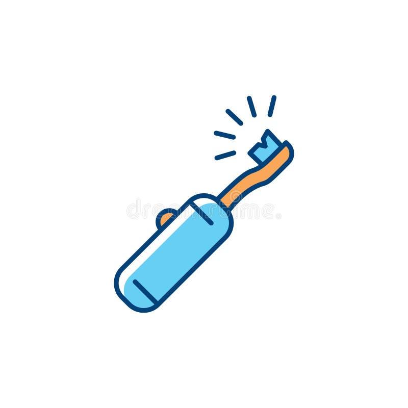 Icono del cepillo de dientes eléctrico Cuidado dental, higiene oral, limpieza de los dientes Línea fina colorida icono del arte V stock de ilustración