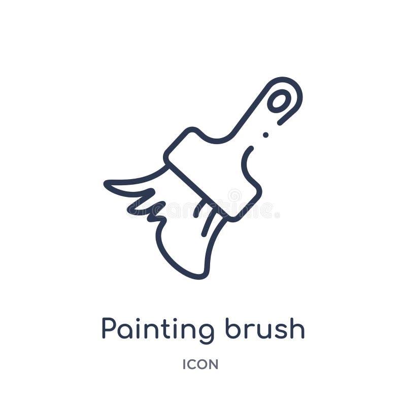 Icono del cepillo del dibujo lineal de la colección del esquema del arte Línea fina icono del cepillo de pintura aislado en el fo ilustración del vector
