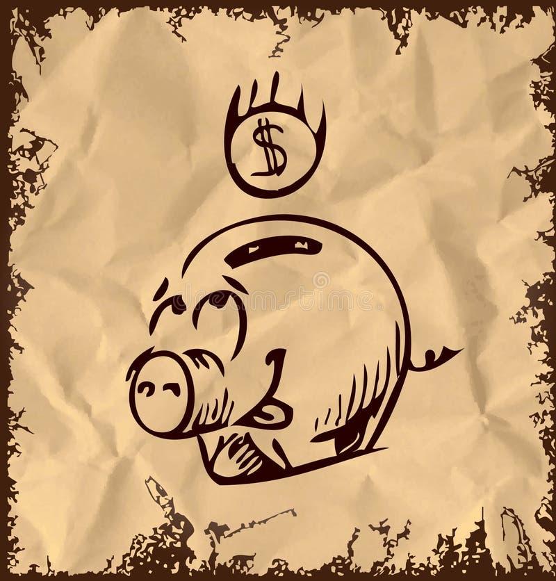 Icono del cerdo del dinero en fondo del vintage ilustración del vector