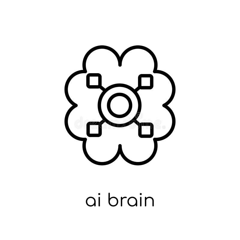 Icono del cerebro del Ai  stock de ilustración