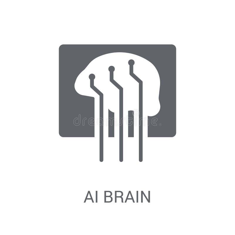 Icono del cerebro del Ai  ilustración del vector